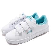 Fila 復古網球鞋 C301T 基本款 小白鞋 白 藍 粉藍 魔鬼氈 經典款 女鞋 運動鞋【PUMP306】 5C301T133