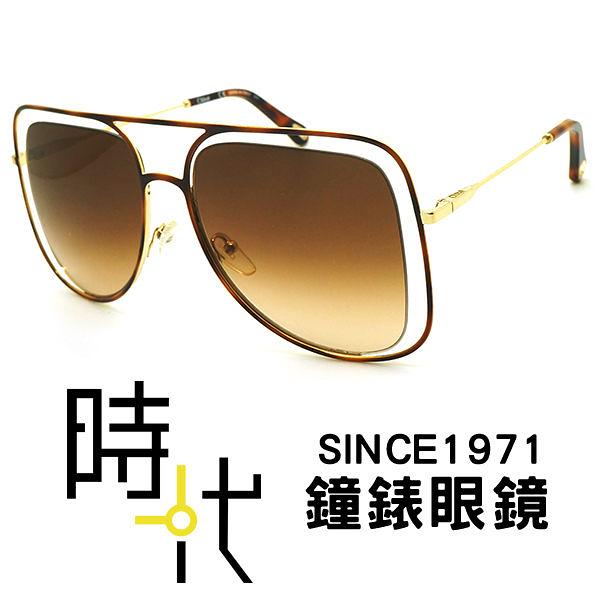 【台南 時代眼鏡 Chloé】太陽眼鏡墨鏡 CE130S 213 57mm 法國時尚 橢圓方框墨鏡 漸層茶色 金框