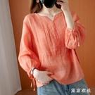 簡約新款夏季苧麻襯衫女寬鬆顯瘦七分袖棉麻小衫氣質V領女士上衣YQ325【東京衣社】