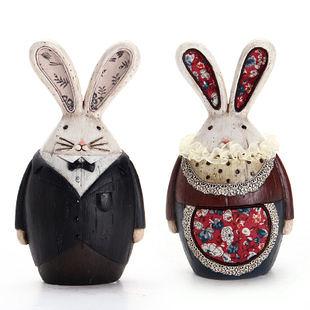 創意家居裝飾擺設兔子歐式田園 樹脂擺件實用工藝生日禮品-722209