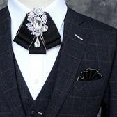 男士西裝領花高檔韓版鑚石雙層領結正裝襯衫口袋巾歐美男胸花胸針 9號潮人館