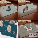 4款 卡通 鳥 圖案防滑吸水夾層法蘭絨門墊 地墊 地毯 50x80