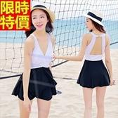 連身泳衣-音樂祭夏日沙灘時尚優雅裙式|泳裝-67h83【時尚巴黎】