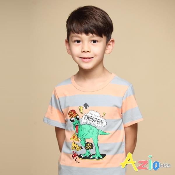 Azio 男童 上衣 嘻哈恐龍印花粗橫條配色短袖上衣T恤(粉) Azio Kids 美國派 童裝