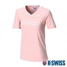 K-SWISS Ks V-Neck Tee印花短袖T恤-女-粉紅