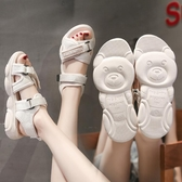 魔術貼厚底涼鞋女2020夏韓版新款小熊鞋時尚百搭運動學生沙灘鞋女新品上新