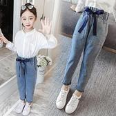 女童牛仔褲2020新款春裝寬鬆褲子兒童裝春秋10小女孩休閒長褲12歲