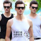 男士背心純棉修身型緊身運動健身青年打底衫彈力夏季潮牌吊帶t恤  泡芙女孩輕時尚