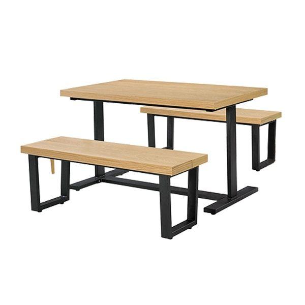 木紋長方休閒桌椅組(18SP/374-3+374-4x2)【DD House】