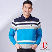 Christian 獨家設計款休閒保暖POLO衫_寶藍條紋(PW768-55)