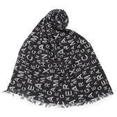 Armani Exchange 經典滿版LOGO純棉薄圍巾(黑色)102850-1