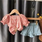 兒童襯衣洋氣女童襯衫夏季寶寶格子短袖上衣小童公主娃娃衫正韓
