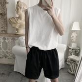背心男夏季透氣寬松坎肩白色韓版無袖T恤棉馬甲【聚寶屋】