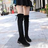秋冬季女式長筒靴子歐美英倫時尚騎士靴圓頭中跟方跟防滑女靴   可然精品鞋櫃