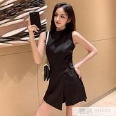 2020夏季新款女裝韓版時尚短褲套裝高腰顯瘦連身褲闊腿連衣短褲潮  中秋特惠