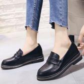 春季英倫風女鞋復古學院牛津百搭顯瘦單鞋繫帶黑色亮面小皮鞋 奇思妙想屋