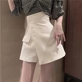 裙褲2021新款高腰不規則斜扣A字短裙女夏季韓版顯瘦西裝半身裙潮  【夏日新品】