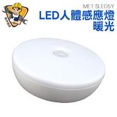 精準儀錶旗艦店人體感應燈LED 暖光感應燈感應小夜燈LED 圓形人體感應燈MET SLED5Y