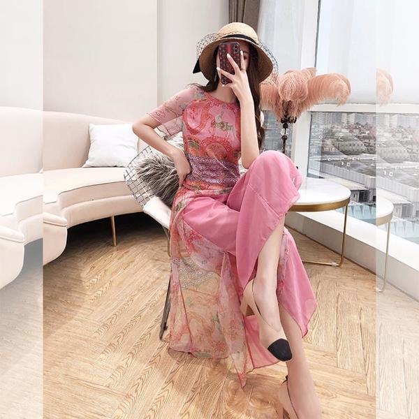 寬管褲 闊腿褲套裝女裝夏季2021年新款粉色減齡民族風印花雪紡衫兩件套