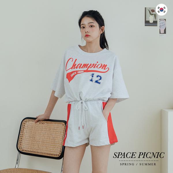 兩件式 Space Picnic|正韓-兩件式-短版上衣+短褲-2色(預購)【K21075005】