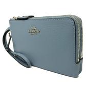 【COACH】牛皮L型雙層拉鍊手拿零錢包(皮革-藍)