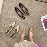 尖頭單鞋女春季新款韓版時尚百搭網線仙女風休閑低跟淺口瓢鞋超級品牌【公主日記】