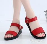 大尺碼女士涼鞋女夏學生一字帶黑色羅馬鞋平底平跟百搭簡約女鞋 LF4678【東京衣社】