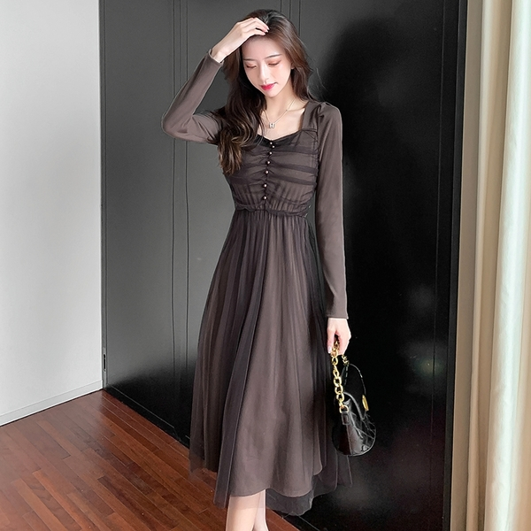 出清388 韓國風名媛拼接網紗裙方領心機珍珠收腰長袖洋裝