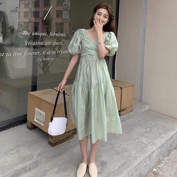 小洋裝 連身裙好質量夏季復古泡泡袖天絲仙女連身裙中長款裙子FFA027韓衣裳