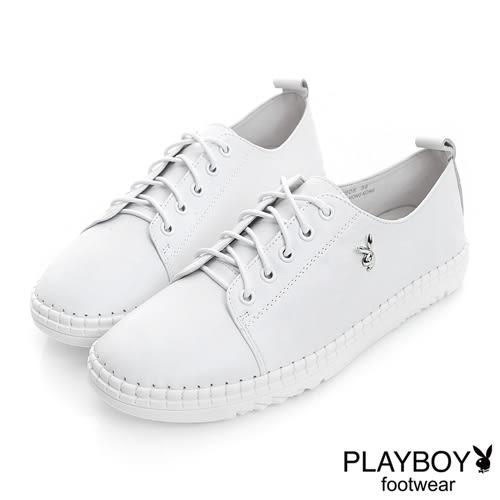 PLAYBOY 極簡時尚 素面真皮綁帶休閒鞋-白