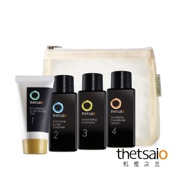 thetsaio機植之丘 尤加利葉頭皮去角質凝膠30g 野萊姆頭皮潔淨液30ml 洗髮乳30ml 護髮素30ml