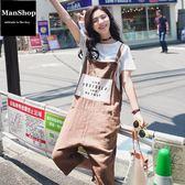 韓版文藝復古棉麻印花吊帶寬松背帶連身褲 潮男街【ManShop】