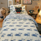 Blue cat 藍貓  雙人kingsize床包薄被套4件組  舒適磨毛布  台灣製造