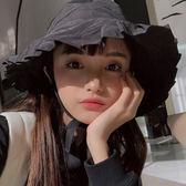 大檐帽少女心荷葉邊漁夫帽子女夏季遮陽帽簡約休閒盆帽  年貨慶典 限時鉅惠