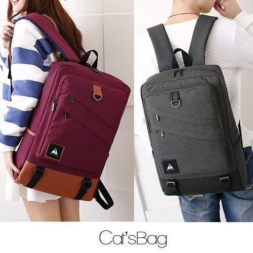 後背包-大容量雙拉鍊可支援USB充電多收納牛津後背包-可放15吋筆電-Catsbag-183270718