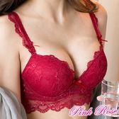 馬甲內衣 唯美蕾絲加寬包覆內衣B-C罩杯(紅色) 粉紅薔薇