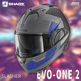 [中壢安信]法國SHARK EVO-ONE 2 彩繪 SLASHER 消光灰黑藍 可樂帽 全罩 可掀式 安全帽 內墨片