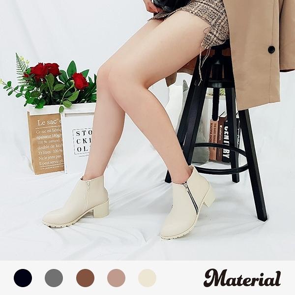 短靴 簡約裝飾側拉鍊短靴 MA女鞋 T5611
