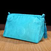 中國風綢緞大號化妝包收納包絲綢流蘇洗漱包 ☸mousika