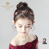 髮夾 兒童頭飾紅色頭花髮夾花環女童髮飾公主頭箍韓版百搭女孩髮箍髮帶 交換禮物