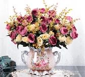 歐式假花仿真花客廳擺設餐桌茶幾絹花擺花件臥室裝飾玫瑰干花盆栽