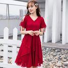 98795-QF  #V領 #洋裝 #大尺碼 #露肩 #雪紡洋裝 #及膝裙 #約會 #大尺碼洋裝