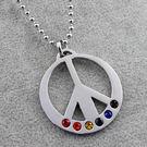 彩虹和平項鍊 鈦鋼磁石 編織手鍊 PU 磁石扣 同性 LES 手鍊 手環 沂軒精品 F0006-7