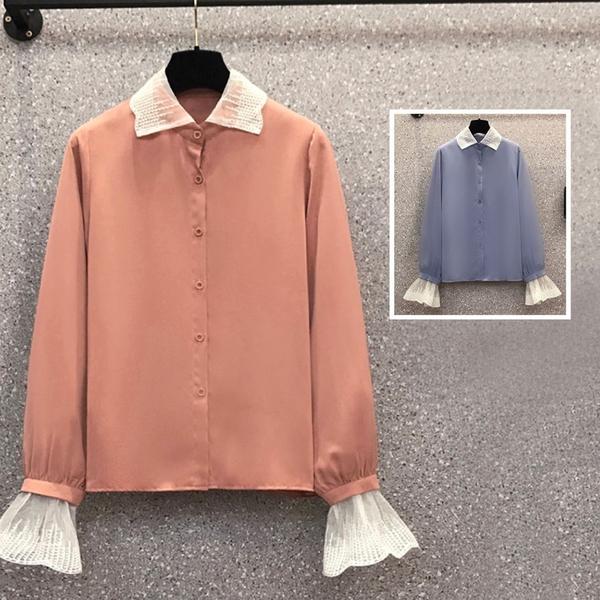 *ORead*復古風時尚顯瘦蕾絲拼接雪紡襯衫(2色L~4XL)