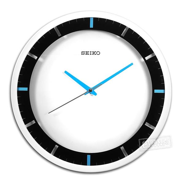 SEIKO 精工 / 31cm 跳色時尚 極簡風 滑動式秒針 餐廳客廳臥室 靜音掛鐘 - 白藍色 #QXA769W