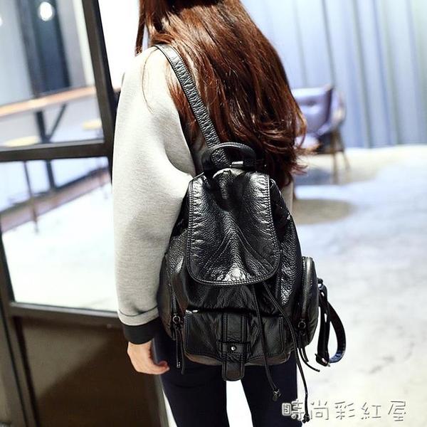 雙肩包女韓版百搭簡約時尚軟皮小背包2020新款潮流百搭大學生書包「時尚彩紅屋」