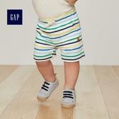 Gap男嬰兒 布萊納小熊刺繡條紋短褲 寶寶褲子純棉休閒褲442238-光感亮白