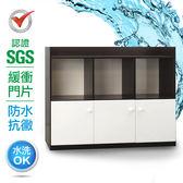 IHouse-SGS 防潮抗蟲蛀緩衝塑鋼加寬三門半開放置物櫃藍白