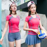 泳衣女分體保守三件套 遮肚顯瘦短袖防曬平角運動游泳衣 溫泉泳裝摩可美家