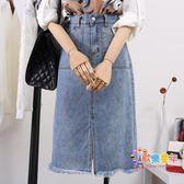 牛仔長裙 牛仔裙半身裙女夏季新款港味復古高腰a字適合胯大腿粗的長裙 2色